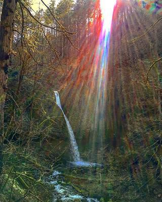 Photograph - Rainbow Energies At Ponytail Falls by Michael Oceanofwisdom Bidwell