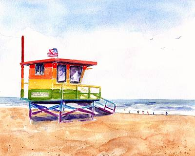 Painting - Rainbow Lifeguard Tower by CarlinArt Watercolor