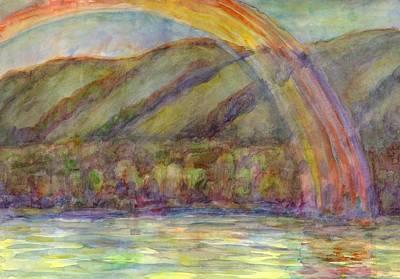 Painting - Rainbow On The River After Rain by Dobrotsvet Art