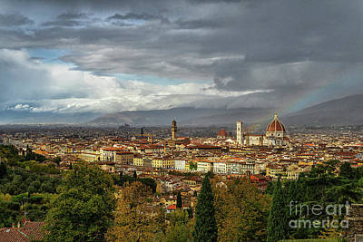 Photograph - Rainbow Over El Duomo Florence Italy by Wayne Moran
