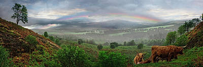 Photograph - Rainbow Over The Scottish Farmlands by Debra and Dave Vanderlaan
