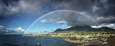 Photograph - Rainbow Panorama Over Olivees Mountain On St. Kitts Island by Bill Swartwout Fine Art Photography