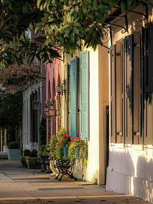 Photograph - Rainbow Row Morning Light by Donnie Whitaker