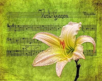 Rights Managed Images - Raindrops on Lily Painted Royalty-Free Image by Judy Vincent
