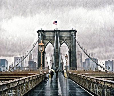 Digital Art - Rainy Brooklyn Bridge by CAC Graphics
