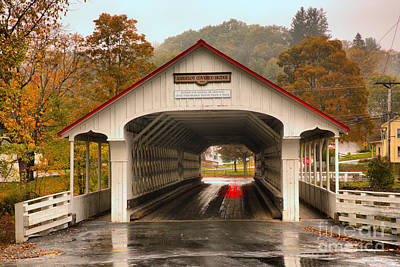 Photograph - Rainy Day At The Ashuelot Covered Bridge by Adam Jewell