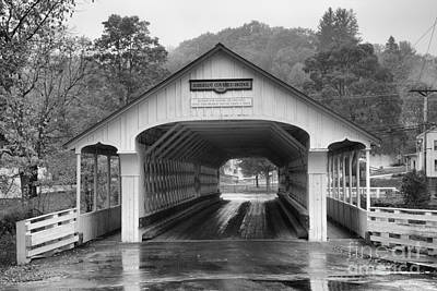 Photograph - Rainy Day At The Ashuelot Covered Bridge Black And White by Adam Jewell