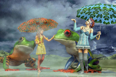 Fantasy Digital Art Rights Managed Images - Rainy Day Friends Royalty-Free Image by Betsy Knapp