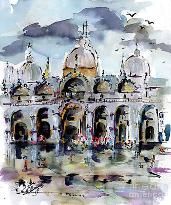 Painting - Rainy Day In Venice Piazza San Marco by Ginette Callaway