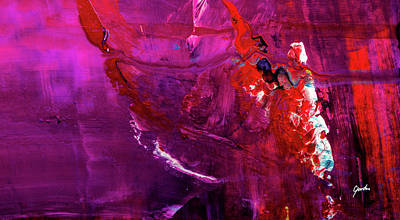 Painting - Rainy Day Woman - Purple And Red Large Abstract Art Painting by Modern Art Prints