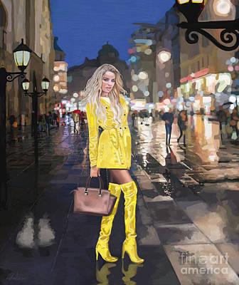 Painting - Rainy Night Downtown by Debra Chmelina