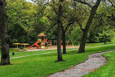 Photograph - Rainy Playground by Edward Peterson
