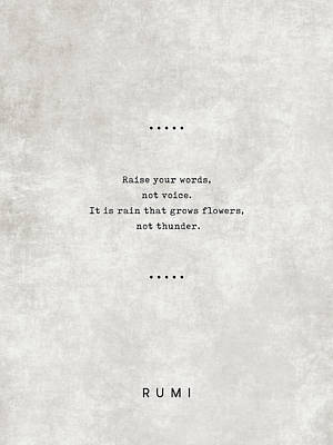 Royalty-Free and Rights-Managed Images - Raise your words - Rumi Quotes 10 - Literary Quotes - Typewriter Quotes - Rumi Poster - Sufi Quotes by Studio Grafiikka