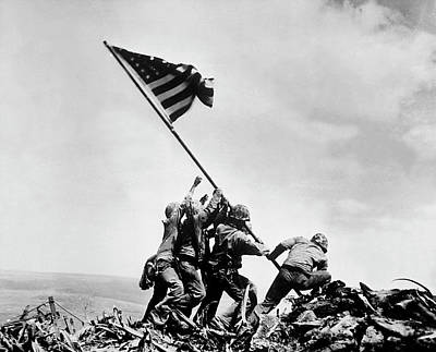 Landmarks Royalty Free Images - Raising the Flag on Iwo Jima - WW2 - 1945 Royalty-Free Image by War Is Hell Store