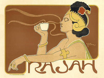 Painting - Rajah Lady Drinking Tea by Vintage French Advertising