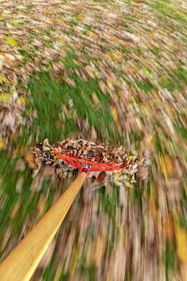 Purely Purple - Raking Leaves Fast 1 by John Brueske