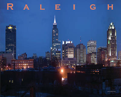 Photograph - Raleigh Skyline Night Photo 16 X 20 Ratio by Tommy Midyette