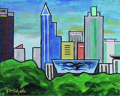 Painting - Raleigh Skyline No Perspective 16 X 20 Ratio by Tommy Midyette
