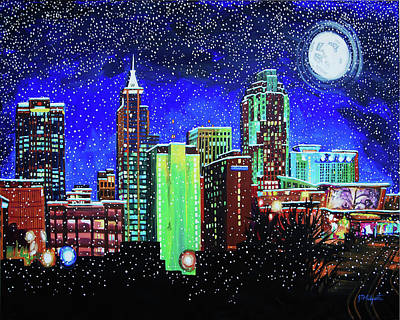 Painting - Raleigh Skyline Winter Night 16 X 20 Ratio by Tommy Midyette