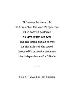 Mixed Media Rights Managed Images - Ralph Waldo Emerson 03 - Solitude Quote - Minimal, Sophisticated, Modern, Classy Typewriter Print Royalty-Free Image by Studio Grafiikka