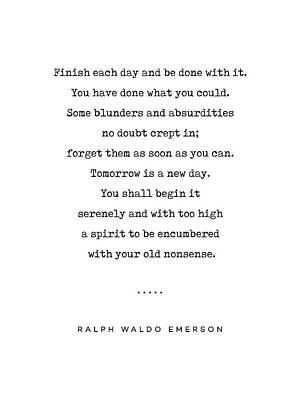Mixed Media Rights Managed Images - Ralph Waldo Emerson Quote 01 - Minimal, Sophisticated, Modern, Classy Typewriter Print - Motivation Royalty-Free Image by Studio Grafiikka