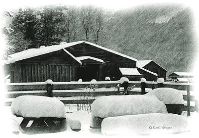 Mixed Media - Ranch Buildings And Benches In Snow by Kae Cheatham