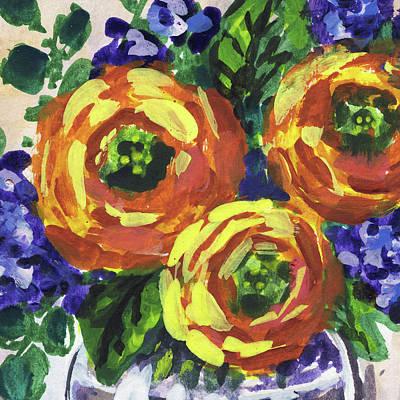 Painting - Ranunculus Flowers Bouquet Floral Impressionism  by Irina Sztukowski