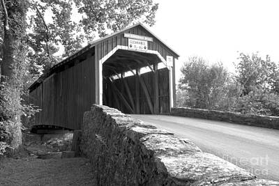 Photograph - Raod To The Germantown Covered Bridge Black And White by Adam Jewell