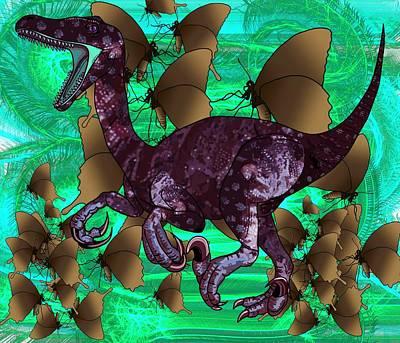 Digital Art - Raptor And Butterflies by Joan Stratton
