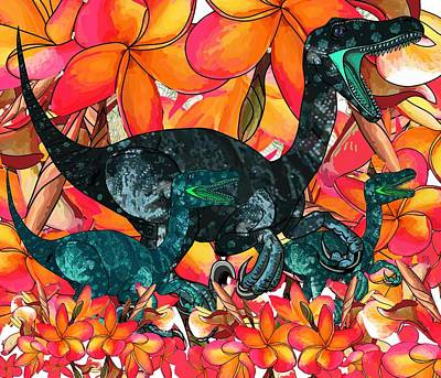 Digital Art - Raptor With Young In Frangipani by Joan Stratton