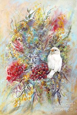 Rare White Sparrow - Portrait View. Art Print