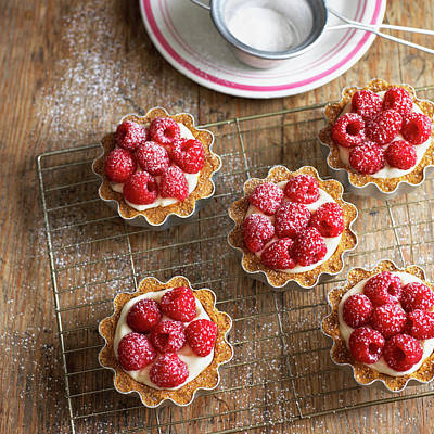 Food Photograph - Raspberry Tartlets With Cream Filling by William Reavell