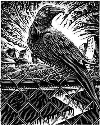 Mark Wagner Wall Art - Mixed Media - Raven Black And White by Mark Wagner