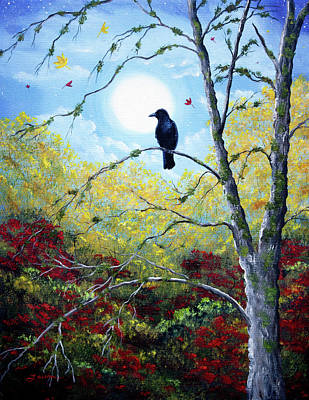Painting - Raven In Autumn Twilight by Laura Iverson