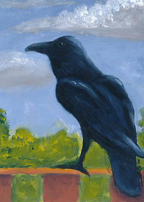 Painting - Raven On A Rail by Mary Elizabeth Thompson