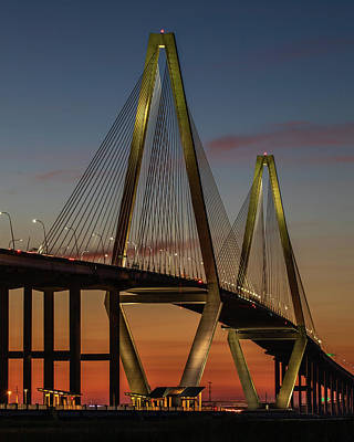 Photograph - Ravenel Bridge Twilight  by Donnie Whitaker