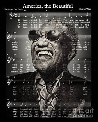 Musicians Drawings Rights Managed Images - Ray Charles America the Beautiful ii Royalty-Free Image by Jim Fitzpatrick