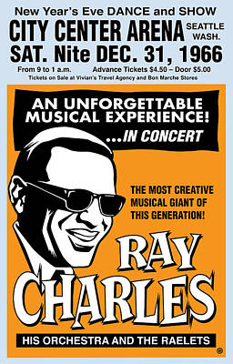 Digital Art - Ray Charles by Gary Grayson