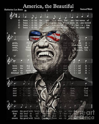Musicians Drawings Rights Managed Images - Ray Charles Singing America the Beautiful  Royalty-Free Image by Jim Fitzpatrick