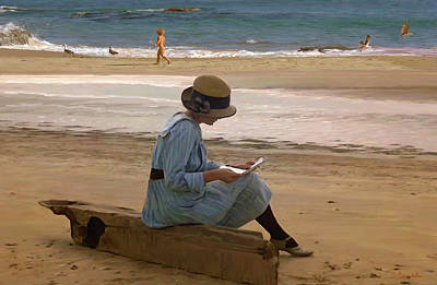 Reading A Letter On The Beach Original
