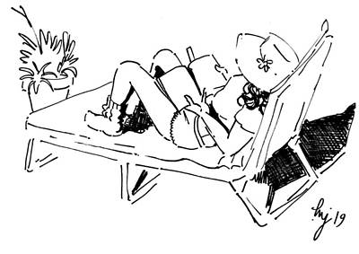 Drawing - Reading And Sunbathing In The Spring Sunshine by Mike Jory