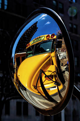 Photograph - Rear View School Bus Mirror by Robert Ullmann