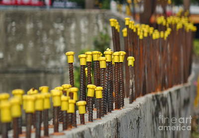 Photograph - Rebar Steel With Yellow Protection Caps by Yali Shi