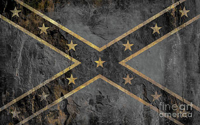 Transportation Royalty-Free and Rights-Managed Images - Rebel Flag Black and White by Randy Steele