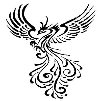 Painting - Rebirth Of The Phoenix Tribal Tattoo Design  by Taiche Acrylic Art