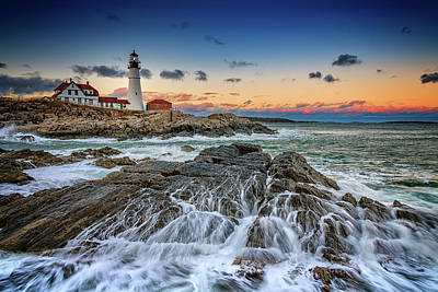 Photograph - Receding Cascade At Portland Head by Rick Berk