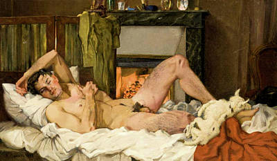 Painting - Reclining Male Nude  by Konstantin Somov