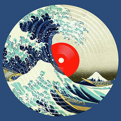 Painting - Record Album Vinyl Lp Asian Japanese Wave Blue by Tony Rubino