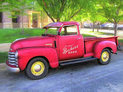 Photograph - Red 1950 Chevy 3100 Pickup by David King