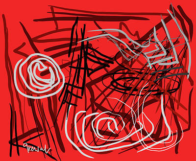 Kitchen Spices And Herbs - Red abstract 14 by Sukhpal Grewal